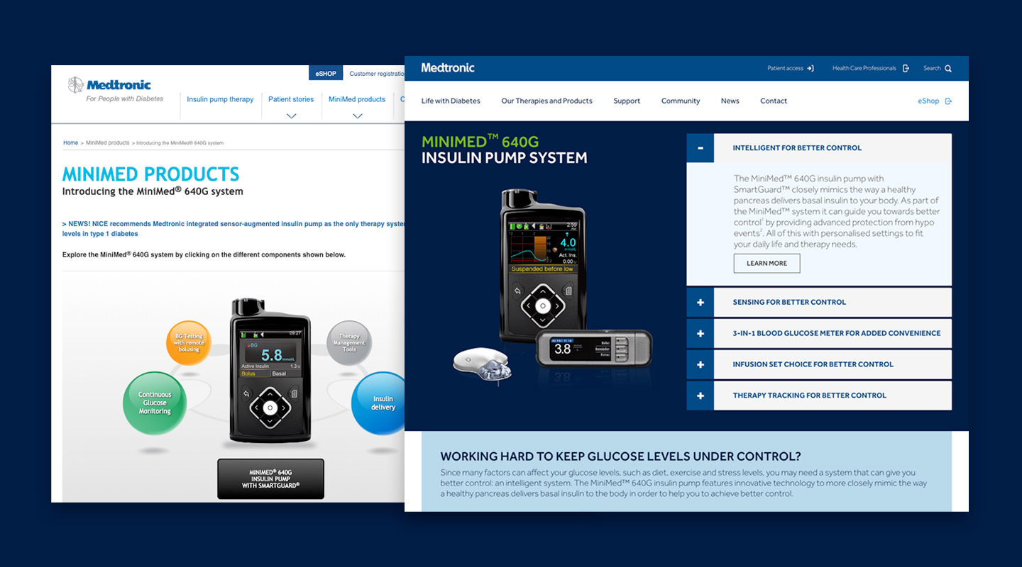 The Medtronic Diabetes site - old and new.